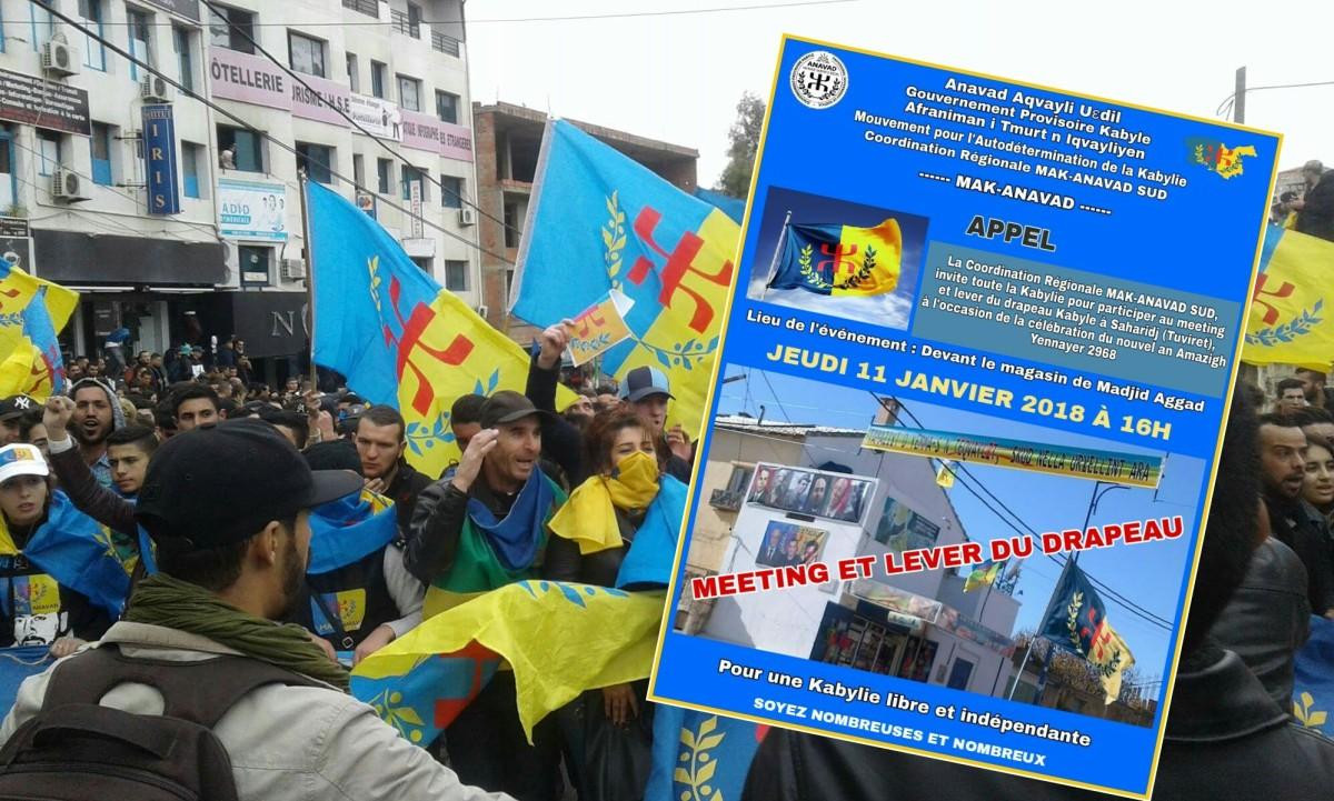 Le MAK-Anavad organise un meeting et un lever du drapeau Kabyle à Saharidj - K-DIRECT