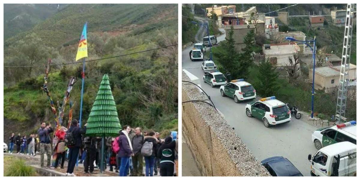 Les habitants de Tizi n Berber empêchent les gendarmes d'enlever les deux drapeaux Kabyles levés au village - K-DIRECT